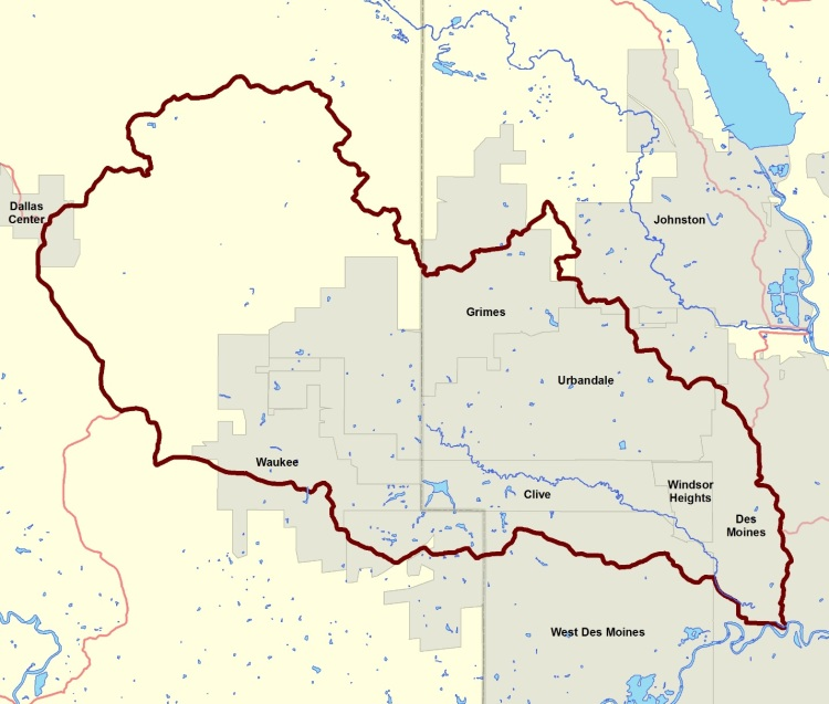 The Walnut Creek watershed encompasses 52,643 acres in Dallas and Polk Counties and includes portions of Clive, Dallas Center, Des Moines, Grimes, Johnston, Urbandale, Waukee, West Des Moines and Windsor Heights.