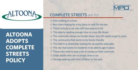 Website art -- Altoona complete streets policy